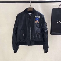 Moschino Women Fashion Black Bomber Jacket