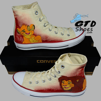 Hand Painted Converse Hi. The Lion King, Simba, Mufasa, Timon, Pumbaa. Handpainted shoes.