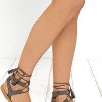 Street Fair Grey Suede Lace-Up Sandals