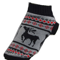 Dog / Pet Warm Winter Sweater with Reindeer.  XXL (Black , Grey, Red)