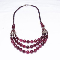Deep Purple Amethyst Necklace-with a few silver plated beads