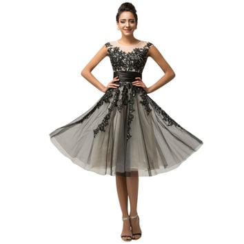 New 2015 Spring Summer Women Court Style Vest Retro Lace Cap Sleeve Short Black Tulle Prom Dress Vintage Runway Dresses 007581 - BRIDESMAID DRESSES BRIDAL GOWNS PROM