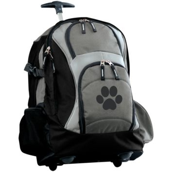 Paw Print Embroidered Wheeled Backpack
