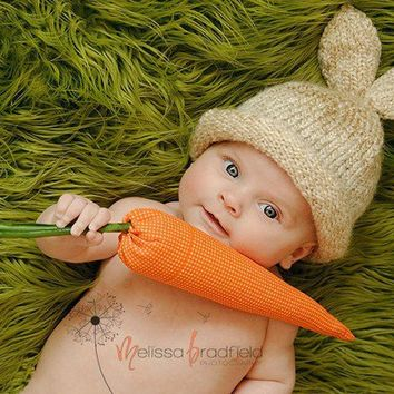 Knit Baby Hat Knitted Newborn Photo Prop Chunky by LittleBirdLucy