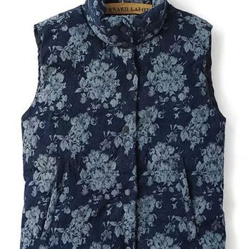 Blue Flowers Printed Sleeveless Stand Collar Short Denim Waistcoat