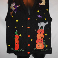 Vintage 80s Halloween Sweater Vest Ugly Cats Pumpkins Witch Moon Stars