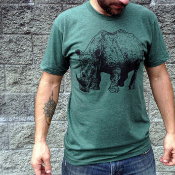 Mens Tshirt / Unisex tshirt - RHINOCEROS  (animal tshirt / gift for men / dark green / mens tshirt)