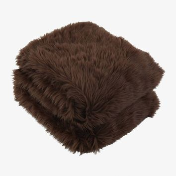 Rorik Faux Fur Throw - Brown