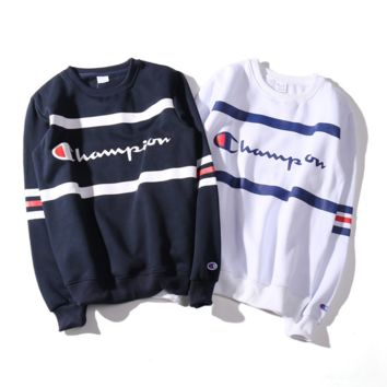 Champion Logo Fashion Casual Unisex Lover's Loose Sweater Pullover Hoodies G