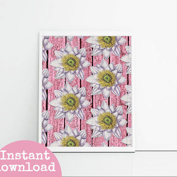 Printable Art - Water Lilies On Pink Wood - Girly Bedroom Decor - Wall Hanging - Instant Download - Gift For Girlfriend - Feminine Art