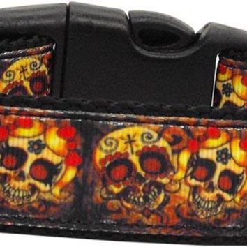 Skull Crossed Lovers Nylon Dog Collars Medium