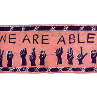 WE ARE ABLE - Batik Wallhanging - African Wax Print - Supporting the Deaf in Ghana