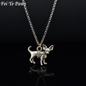 Fei Ye Paws Retro Style 3D Vintage Silver Color Chihuahua Dog Charm Pendant Necklace Boho Chic Long Chain Dog Men Necklace