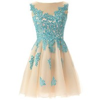 Mic Dresses Women's Short A-line Homecoming Dress Mini Gowns with Applique