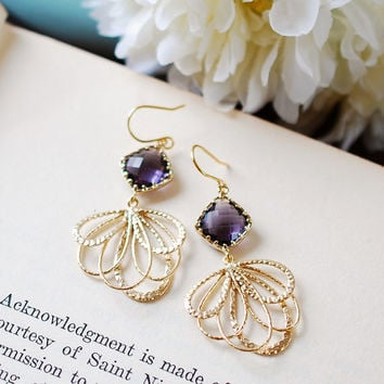 Amethyst Purple Gold Dangle Earrings, Gold Chandelier Earrings, Purple Wedding Jewelry, Bridesmaid Gift, Bridal Earrings