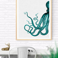 Octopus printable art, Nautical Home decor, Octopus art, Ocean wall art, Beach print, Sea Life print, Vintage print, Beach House Decor 24x30