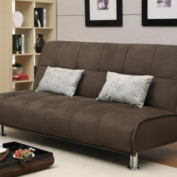 A.M.B. Furniture & Design :: Living room furniture :: Sofas and Sets :: Sofa Sets :: Brown microfiber fabric folding futon sofa bed with chrome finish legs