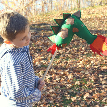 Dragon Hobby Horse, Dragon Stick Horse, Stick Pony, Fantasy, Toy Dragon, Stuffed Dragon, Knights, Dragon Party Favors, Boy Toys, Medieval