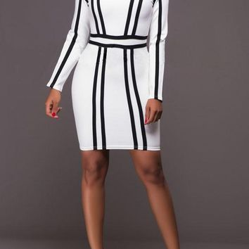 White-Black Striped Print Round Neck Bodycon Mini Dress