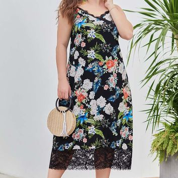 Hawaiian Tropical Print Midi Dress