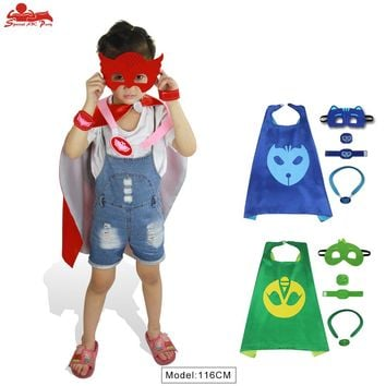 SPECIAL L 27* PJ cape and mask birthday cos-play party Christmas costume girl gifts p j themed cloak dress up masque favour