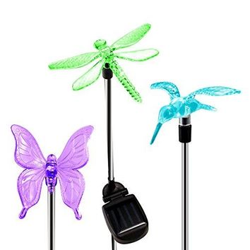 Solar Garden Lights, Hummingbird, Butterfly & Dragonfly Solar Stake Lights, Solar Powered Pathway Lights, Multi-Color Changing LED Lights, Outdoor Decorative Landscape Lighting for Garden/Patio/Backyard/Lawn