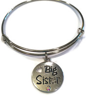 Big Sister Charm Bracelet - Alex and Ani Inspired - Silver Jewelry -  Big Sister Jewelry - Big Sister Gift - Adjustable Bangle Bracelet