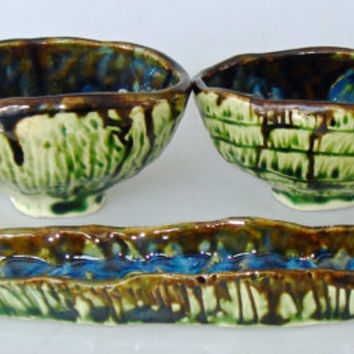 Pinch Pot serving set for entertaining, olive dish, snack bowls, Asian inspired,  Japanese style
