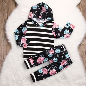 Newborn Toddler Baby Girls Hoodie Tops Sweatshirt+Pants 2pcs Outfits Set Costume