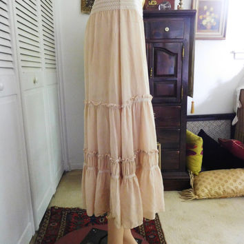 Beige Skirt Long Midi Gypsy Skirt Elastic Waist Tiered Layered Hippie Clothes Vintage Clothing Bohemian Broomstick Boho Skirt Gathered