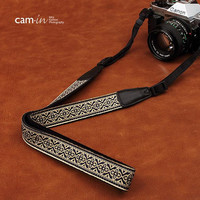 Cam-in- White Pattern Sony Nikon Canon Handmade Leather Camera Strap Christmas And Birthday Gifts Bohemia Style Holiday -CAM8479