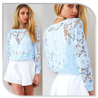 Scoop Hollow Out Scoop Long Sleeves Lace Blouse