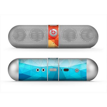 The Vector Abstract Shaped Blue-Orange Overlay Skin for the Beats by Dre Pill Bluetooth Speaker