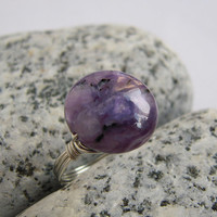 Coin Sugilite Sterling Silver Ring, Wire Wrapped Stone Jewelry