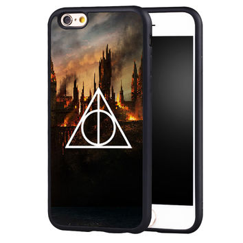 HARRY POTTER AND DEATHLY HALLOW Printed Soft Rubber Skin Mobile Phone Case For iPhone 6 6S Plus SE 5 5S 5C 4 4S Back Shell Cover