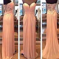 New Arrival Sweetheart Neck Long Prom Dress Chiffon Bridesmaid dress APD1657