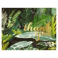 Foil Palms Green Boxed Folded Thank You Cards