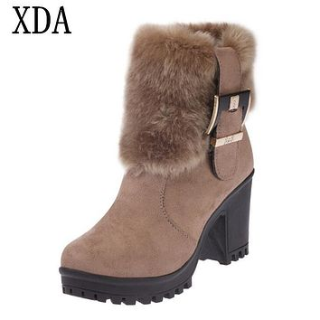 XDA 2017 New Women Boots Winter outdoor keep Warm Fur Boots Waterproof Women's Snow Boots Thick with round head short boots W85