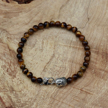 Men's Tiger Eye Buddha Bracelet ~ Unisex Stone Jewellery ~ Healing Stones ~ Semi Precious Stones ~ Gift for Man ~ Unique Gift for Him