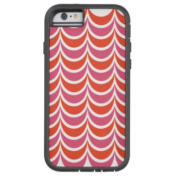 Trendy Geometric Pattern Pink Orange Wavy Stripes Tough Xtreme iPhone 6 Case