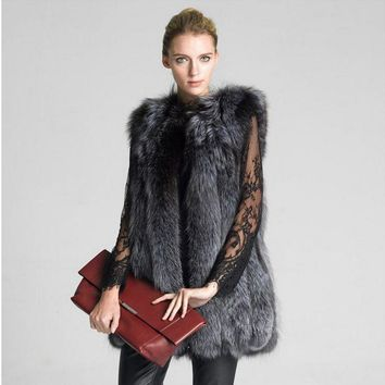 New Fashion And Winter Women Coat Woman Fur Vests Jacket Ladies Gilet Vest For Shopping Working Party Wedding Hn90