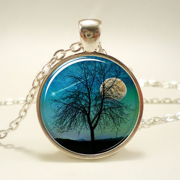 Tree Necklace Shooting Star And Moon Jewelry Comet by rainnua