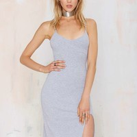 Nasty Gal Wild World Ribbed Tank Dress - Gray