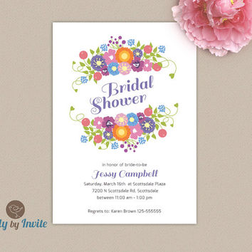 Floral bridal shower invitation | Whimsical summer wedding shower invitation |  FREE Shipping