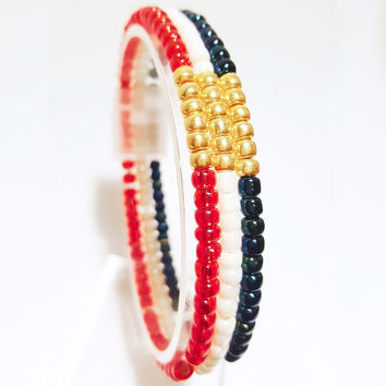 Set of USA Olympic Seed Bead Stackable Stretch Bracelet