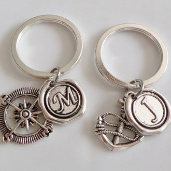 Compass Keychain, Anchor keychain, Monogram initial keychain, best friend keychain, Sister mother daughter boyfriend girlfriend Gift