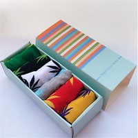 men socks cotton gift box 6 pairs/lot Spring Summer and Autumn brand Weed socks colorful Male and men's cotton socks