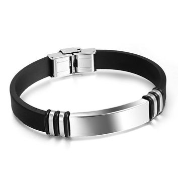 Silicone simple and generous personality highly polished engraving bangles bracelets Wholesales Fashion Jewelry for men
