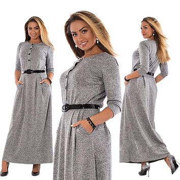 Autumn Winter Dress Big Size Elegant Long Sleeve Maxi Dress Women Office Work Dresses Plus Size Women Clothing