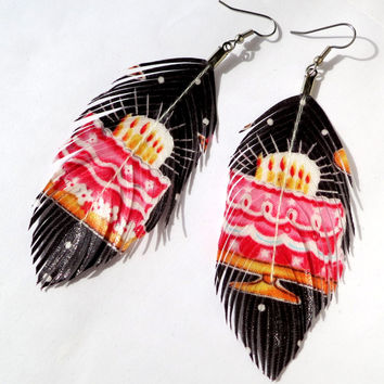 Its MY Party -  Print Feather Earrings